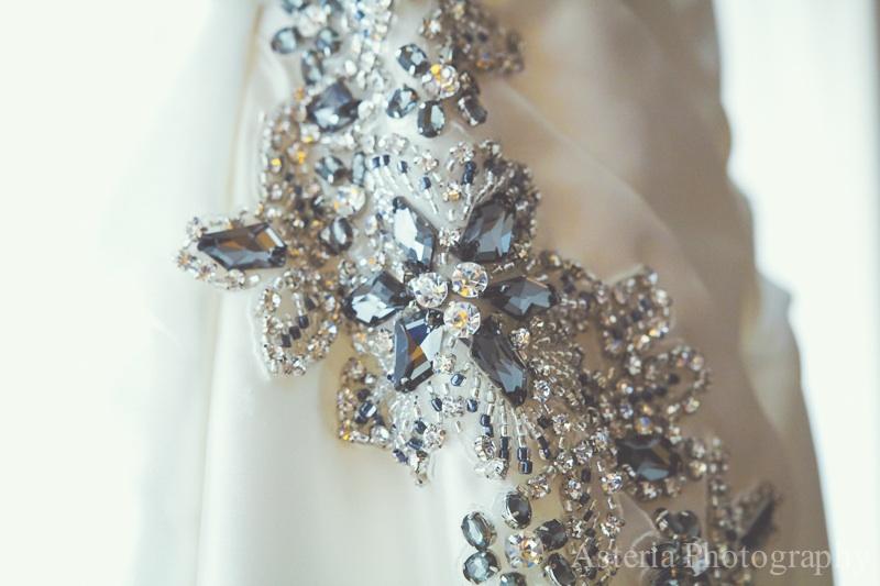 Wedding dress hip beading detail (Andrew & Lauren)