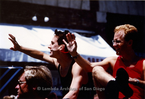 P018.042m.r.t San Diego Pride Parade 1989: Men waving from car