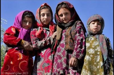Young Wakhi girls on a roof in Khandut, Afghan Wakhan© Bernard Grua