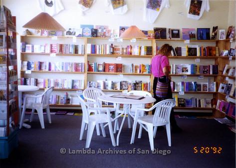 P167.015m.r.t Paradigm Women's Bookstore: Woman browsing books in bookstore