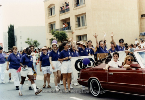 San Diego LGBTQ Pride Parade, July 1997: San Diego Women's Chorus Marching in the parade.