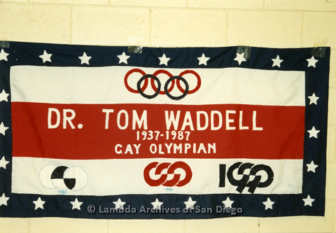P019.050m.r.t AIDS Quilt at San Diego Golden Hall 1988: Star spangled quilt dedicated to Dr. Tom Waddell, a Gay Olympian