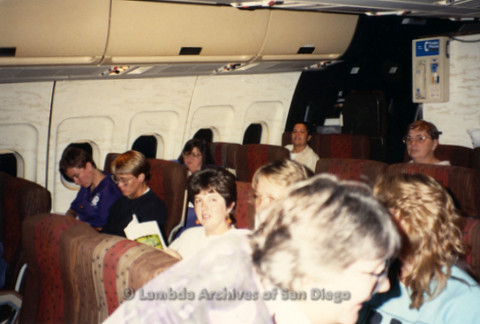 """""""The Magic Music Makes"""" San Diego Women's Chorus (SDWC) first choral festival with Sister Singers 1991: SDWC sitting in an airplane heading to Houston."""