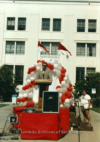 P012.005m.r.t San Diego Walks for Life 1986: Deputy Mayor Ed Struiksma speaking at podium