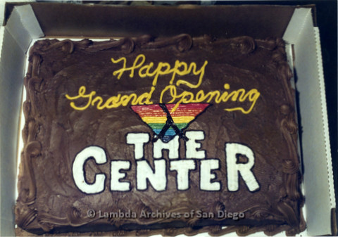 P022.031m.r.t Grand Opening of The Center on Normal Street, Donor Appreciation Party: Cake that reads: Happy Grand Opening The Center""