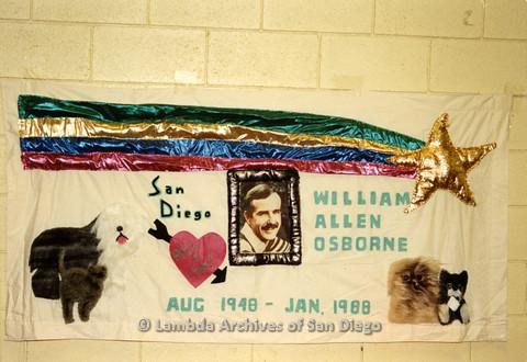 AIDS Quilt at San Diego Golden Hall,1988: quilt dedicated to William Allen Osborne