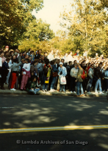 P019.291m.r.t Second March on Washington 1987: Crowd of people standing on street, one woman sitting