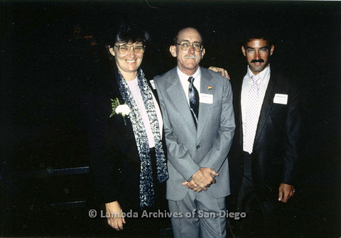 Jeri Dilno (left), Jess Jessop (center), and Richard Tanner (right) at a San Diego Democratic Club event, c.1989