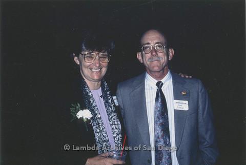 Jeri Dilno (left) and Jess Jessop at a San Diego Democratic Club event, c.1989