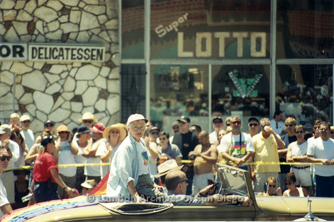 San Diego LGBT Pride Parade, July 1999. Betty DeGeneres riding in the back of a convertible.