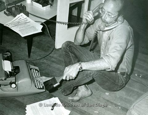 Jess Jessop answering hotline c.1972