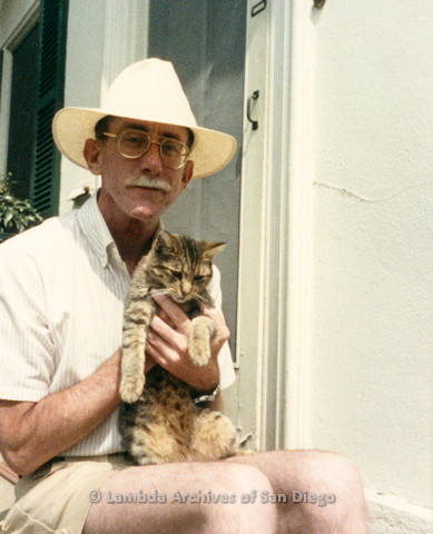 Jess Jessop with his cat Ciely, 1989