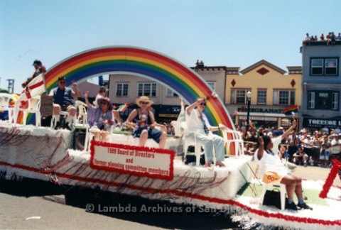 San Diego LGBT Pride Parade, July 1999: 1999 Pride Board of Directors Along With Former Board Members on the LGBT Pride Parade Float