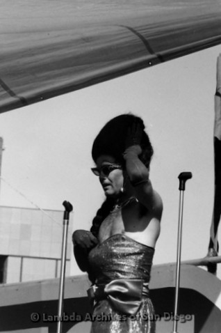 San Diego Lambda Pride Festival: Female Impersonator performing on the Festival Stage.