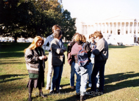 P019.255m.r.t Second March on Washington 1987: Small group outside Capitol Building