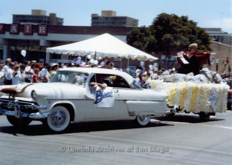 P018.034m.r.t San Diego Pride Parade 1988: Bravo! Float