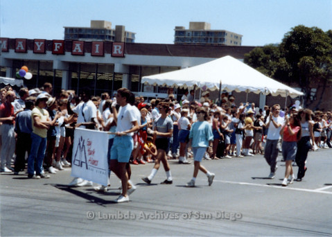 P018.031m.r.t San Diego Pride Parade 1988: Gay Youth Alliance marchers