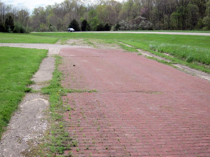 Abandoned brick road