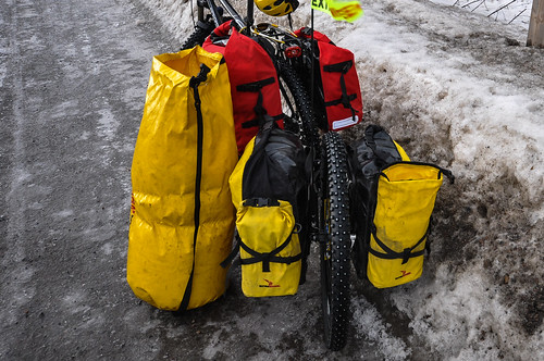 Crosso Twist and Expert panniers in deep winter plus drybag