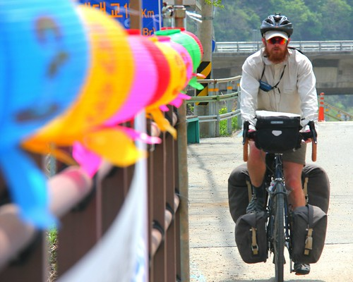 Cycling near a temple
