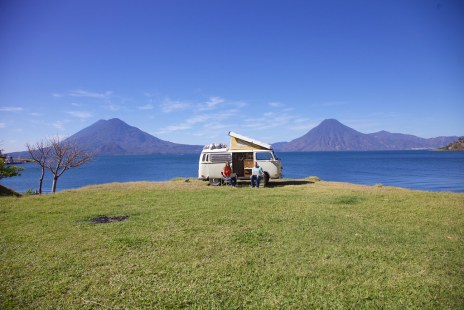 With the bus at Lake Atitlan, Guatemala
