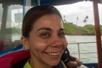 Lucía glom van oor tot oor met het vooruizicht walvissen te gaan zien
