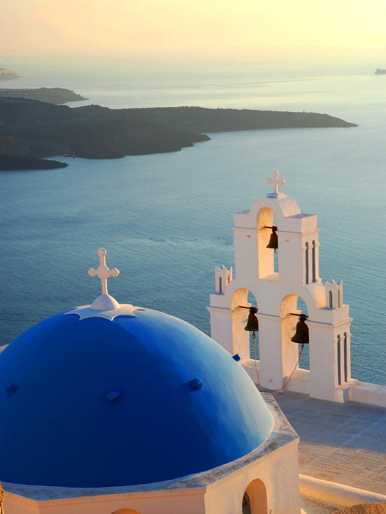 Blue-domed church at sunset | Firostefani. Santorini (Greece… | Flickr