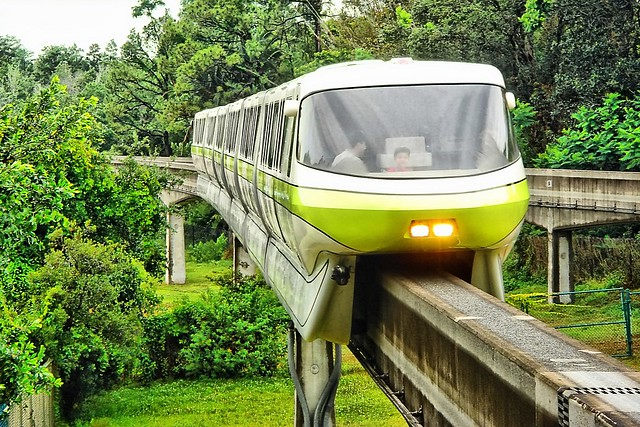 Disney - Monorail Lime at MK Station - HDR