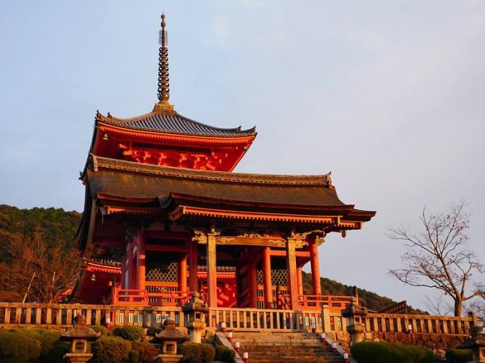 Kiyomizu-dera Temple Gate at sunset in Kyoto, Japan