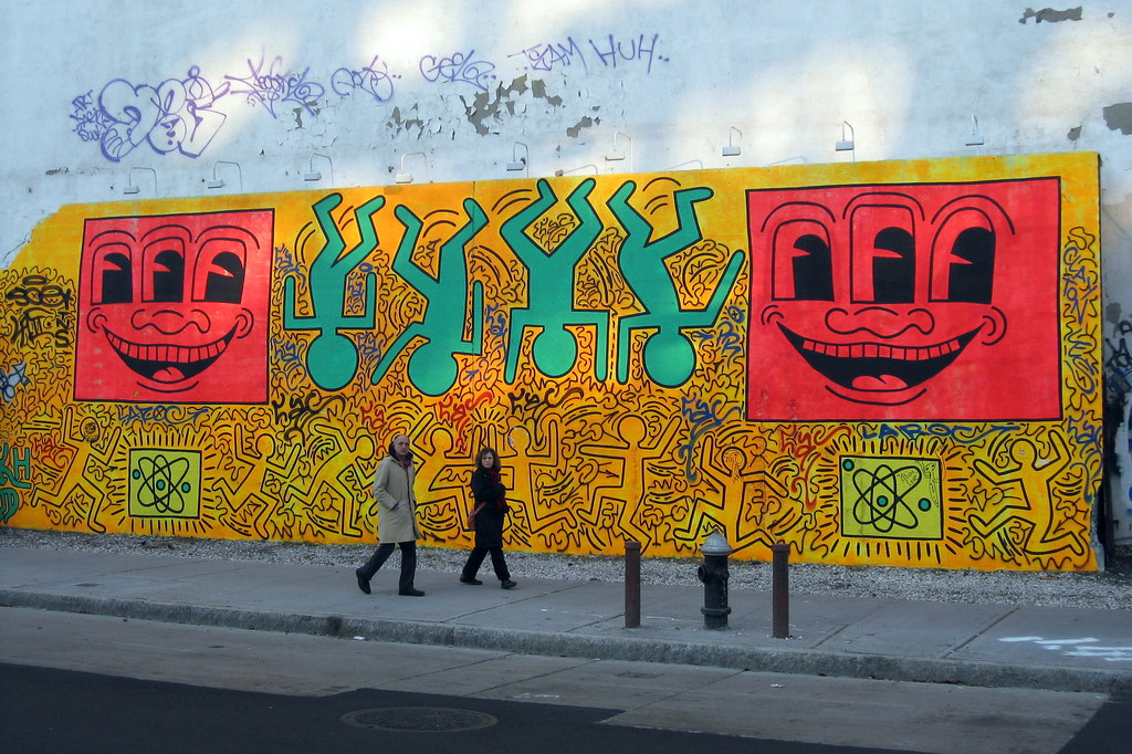 Wallach division of art, prints and photographs: Nyc East Village Bowery Mural Tribute To Keith Haring Flickr
