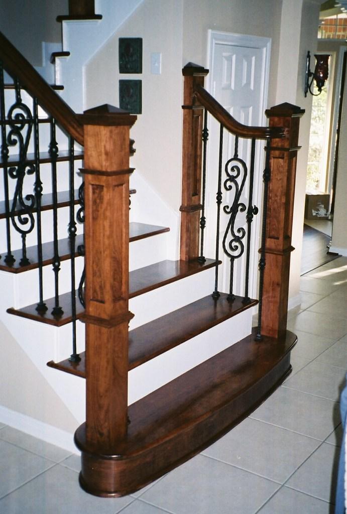 Dark Tread White Riser Iron Posts Alexandriacarpetone Flickr | Dark Wood Stairs With White Risers | Wall | Beautiful Wood | Wooden | Modern | Floor