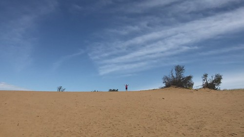 Douglas Provincial Park - Linda running down the dune