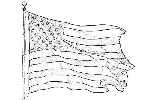 american flag pencil sketch