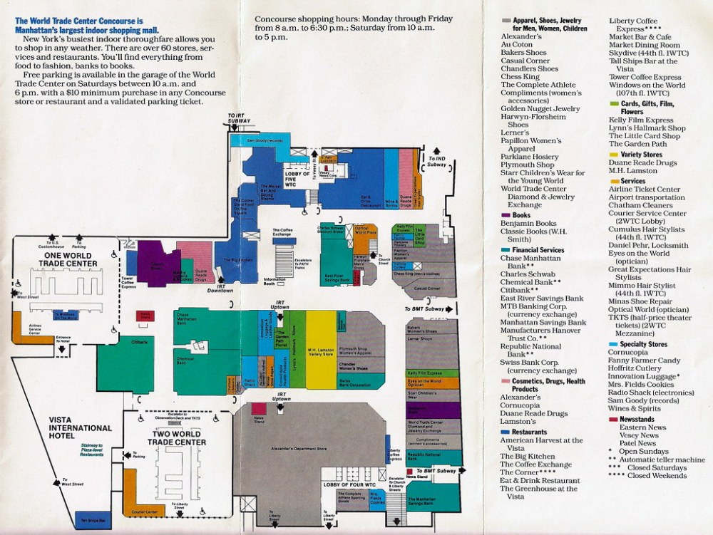 medium resolution of  world trade center shopping concourse map by allwaysny