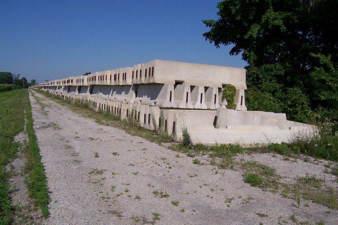 Jersey barriers on the abandoned National Road