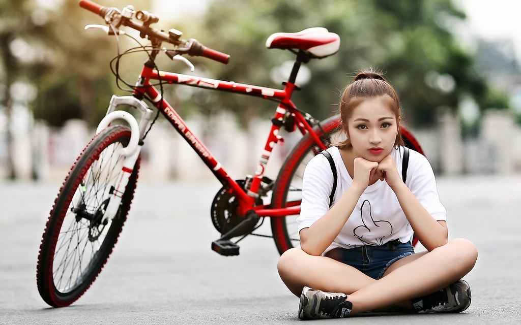 lovely girl with cycle
