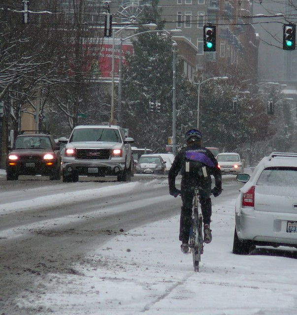 Bicycle Courier in Snow