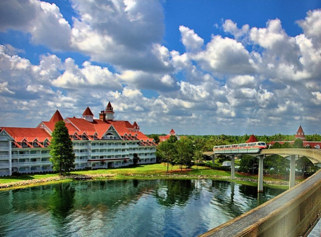 Disney - Grand Floridian and Monorail Coral As Seen From the Express Monorail - HDR (Explored)