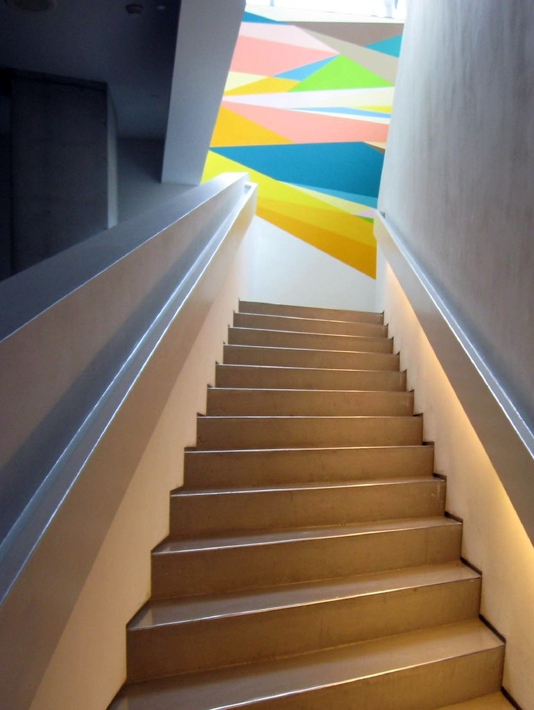 Stairs At Contemporary Arts Center Www Contemporaryartscen… Flickr | Zig Zag Stair Carpet | Winding Staircase | Geometric | Metal Bar On Stair | Red | Traditional