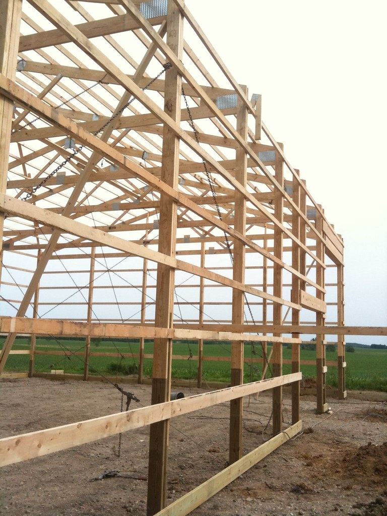 medium resolution of  pole barn construction phase 2 day 1 framing complete by kb9khm