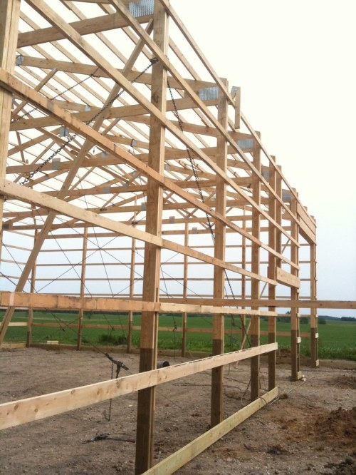 small resolution of  pole barn construction phase 2 day 1 framing complete by kb9khm