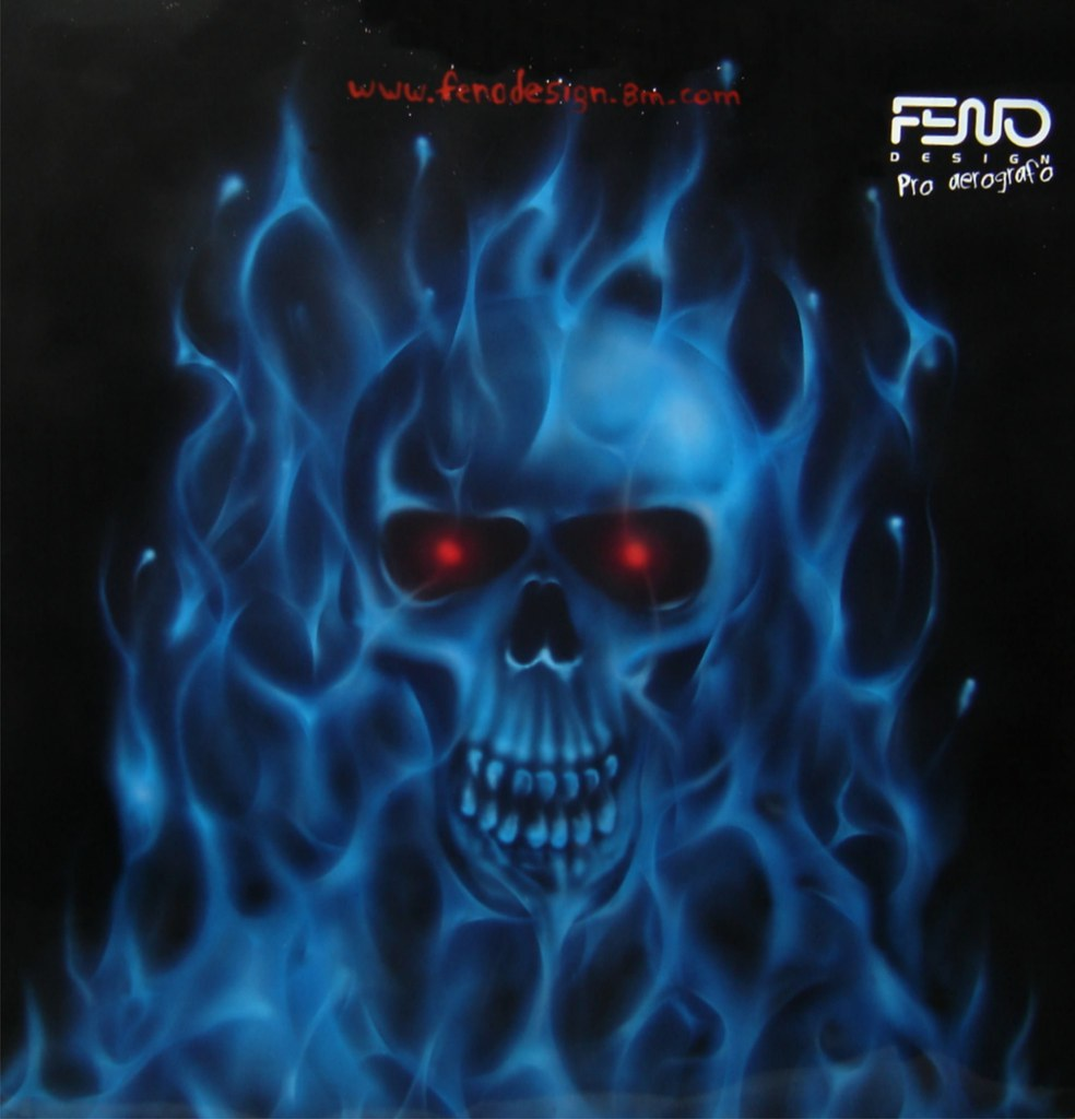 blue fire with skull
