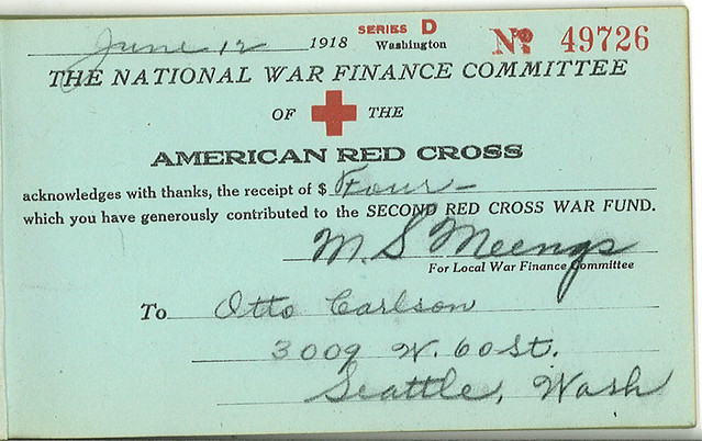Receipt for World War I Red Cross donation 1918  Found