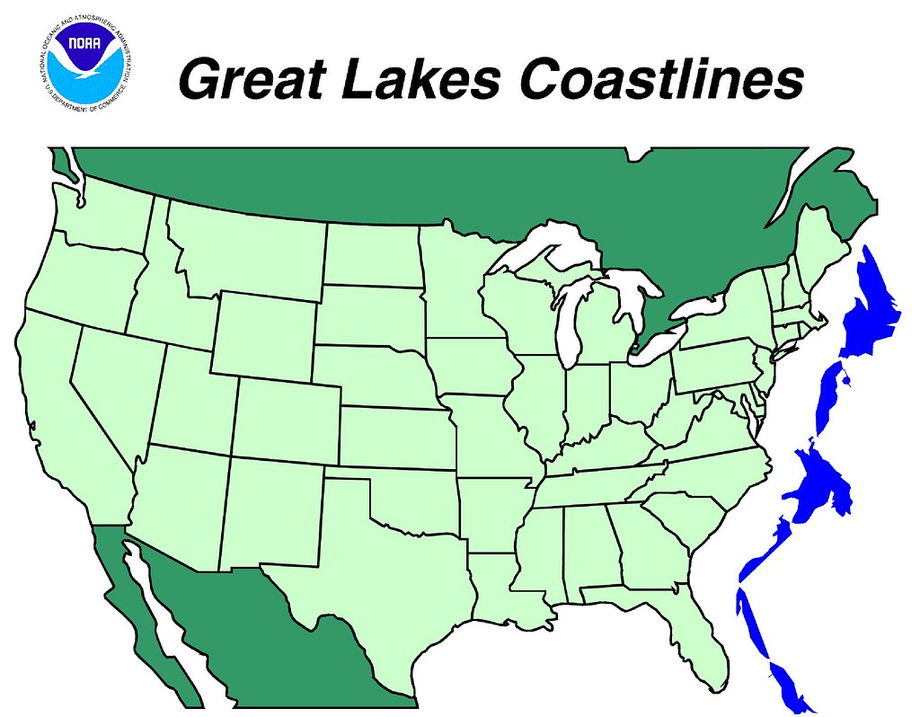 Comparison Map Of Great Lakes Shoreline With U S East Coa