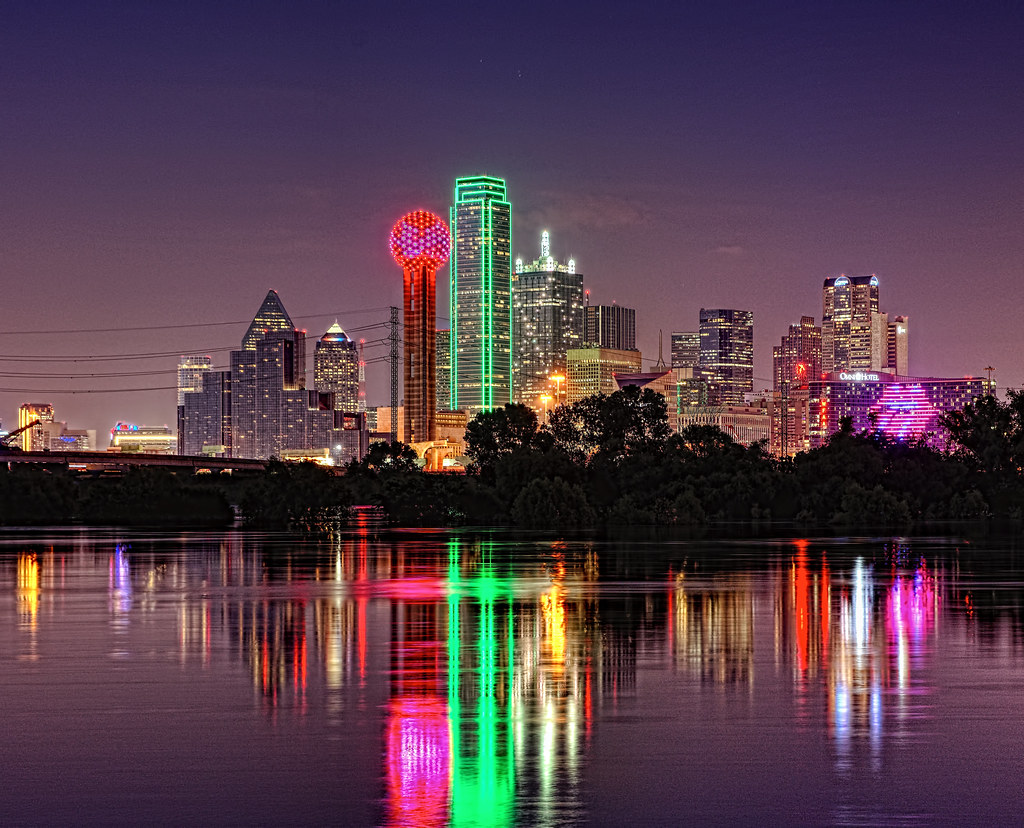 Dallas Skyline With Trinity River Reflection And The Omni