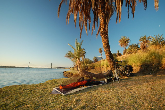 Camping on the banks of the Nile