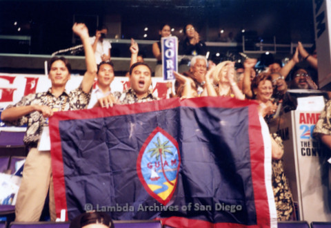 P338.032m.r.t 2000 Democratic National Convention Los Angeles: Members of audience holding up a Guam Flag