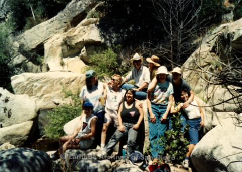 P008.140m.r.t Cuyamaca 1991: Group photo on the trail with Pamela Gusha, Diane F. Germain, and others