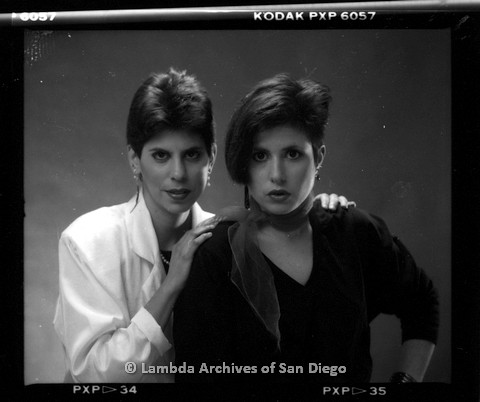 1988 - San Diego Native, Zanne (right) with Bandmate (left) Pose for a Studio Portrait.