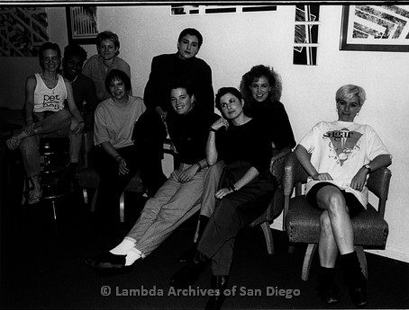 """March 1989 - """"So Many Women"""" Video Shoot: Group Photo at The Lesbian Dance Club 'The Flame', Zanne (third left) and Crew Involved With the Video Shoot of 'So Many Women'."""